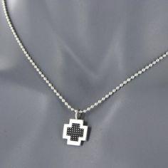 Minimaliste croix pixellisée necklace - Coté Mecs