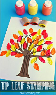 Toilet Paper Roll Leaf Stamping Fall Tree Craft #Easy Fall craft for kids! (Includes free printable fall tree) | CraftyMorning.com