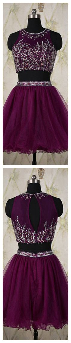 Two-pieace Purple Beaded Tulle Homecoming Dress Prom Dress Party Dress