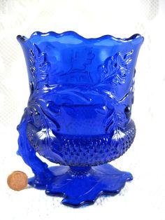 Mosser Acorn Handled Spooner Cobalt Blue Glass Oak Leaves Acorns - My sweet friend sent me one of these today.  Love it!