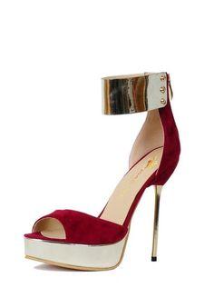 a4e5fd694b0e Red Suede Peep Toe Platform Sandals Size 5 thru 15. Women s ShoesAnkle  StrapsPlateNew FashionGlitterZipPumpsPlus ...