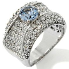 HSN 3.08ct Sterling Silver Absolute and Aquamarine Simulant Band Ring 10 $350 Free Shipping in USA ~ 100% Satisfaction ~ No Reserve ~ 14 Days Return