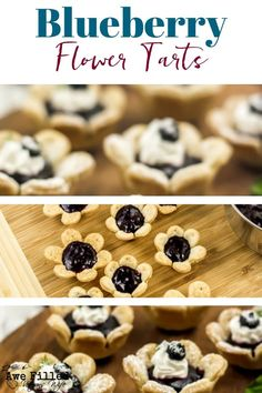 a recipe for Mother's Day that the kids can help with? This is the perfect one! Blueberry Flower Tarts are delicious and fun to make! Unique Desserts, Easy Desserts, Delicious Desserts, Yummy Food, Best Dessert Recipes, Sweet Recipes, Amazing Recipes, Dessert Ideas, Healthy Recipes