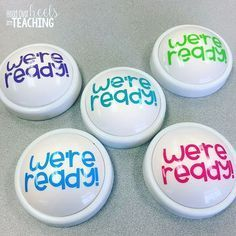 """I wanted to share this simple and inexpensive idea with you! I made these """"we're ready"""" light buttons to use next year! (Even though I haven't finished packing my classroom! ) I plan to use them to hold all students in each group accountable for getting ready to learn! I'll use them to signal when groups are ready to share their thinking, when they all agree on something, or ready for transitions. #teachers #iteach #iteachtoo #teachersofinstagram #teachersfollowteachers #teacherspayteache..."""