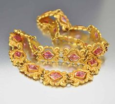 Art Nouveau Necklace Dog Collar Edwardian Gold Pink by boylerpf