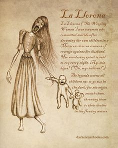 Dark Corner Bestiary - La Llorona How depressing. Their are two versions to this story, this one and that she lost her children and when she realized they were dead then she killed herself. So either way it's still depressing. Mythical Creatures Art, Mythological Creatures, Magical Creatures, Mythological Monsters, Myths & Monsters, Legends And Myths, Supernatural Beings, Arte Obscura, Norse Mythology