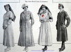 New Authorized Red Cross Uniforms September 1917 Ladies' Home Journal p. (non-medical). Historical Costume, Historical Clothing, World War One, First World, Work Uniforms, Nursing Uniforms, Vintage Nurse, Nurse Costume, American Red Cross