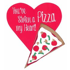 "Need a punny Valentine idea for someone special? Make this DIY ""You've Stolen a Pizza"" Valentine's Day Card to show you care."