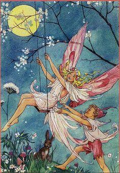 Vintage Fairy Illustration--Dorothy Wheeler--On a Swing