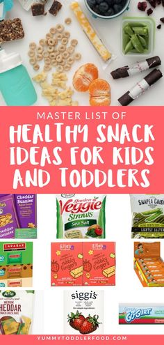Master List of Toddler Snack Ideas For Kids and Toddlers Do you have trouble coming up with snack ideas for your kids and toddlers? Our master list of snacks is your go-to guide for those after school snacks and road trip foods! Healthy Homemade Snacks, Healthy School Snacks, Healthy Afternoon Snacks, Healthy Toddler Snacks, After School Snacks, Healthy Baking, Healthy Snacks For Kids On The Go, Toddler Food, Cooking With Toddlers