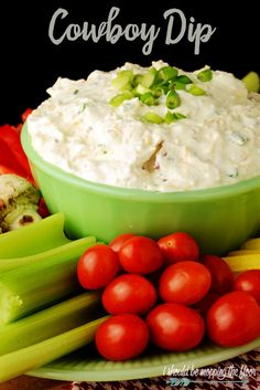 This Cowboy Dip is the perfect game day party food for your gathering. It has a fun kick to it that makes it irresistible. It's perfect with cut veggies or chips. Post includes tips on veggie prepping before your party. Vegetable Dips, Veggie Tray, Dips For Vegetables, Vegetable Appetizers, Cold Appetizers, Party Appetizers, Vegetable Garden, Cowboy Dip, Cowboy Party