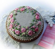I ❤ pincushions . . . Roses and Pearls Pink- This delightful simple pretty design is suitable for beginners wishing to try their hand at silk ribbon embroidery. Design measures 3 inches or 7.5cm in diameter. ~From lornabatemanembroidery