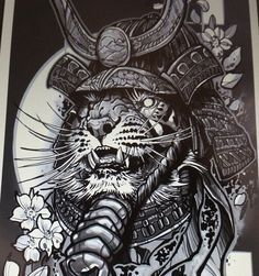 Эскиз татуировки с тигром-самураем