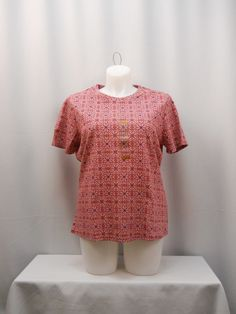 Top Plus Size 1X NorthCrest Paisley Multi Color Short Sleeves Scoop Neck Casual #NorthCrest #KnitTop #Casual