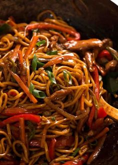 Close up of Lo Mein in a wok, ready to be served recipes chicken recipes crockpot recipes easy recipes for dinner recipes healthy food recipes Chinese Cooking Wine, Asian Cooking, Vegetarian Recipes, Cooking Recipes, Healthy Recipes, Wok Recipes, Healthy Food, Asian Noodle Recipes, Healthy Chinese Food