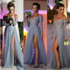 Long Prom Dresses, Gray Prom Dresses, Lace Prom Dresses, Off Shoulder V-neck…