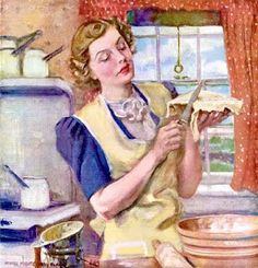 """American Weekly, Cooking Around America, """"Way Down East - Apple Pie, Baked Cod With Crabmeat Dressing"""" James Montgomery Flagg Vintage Baking, Vintage Kitchen, Vintage Love, Vintage Ads, Vintage Woman, Vintage Pictures, Vintage Images, Pin Up, Vintage Housewife"""