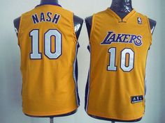 Revolution 30 Lakers #10 Steve Nash Yellow Embroidered Youth NBA Jersey