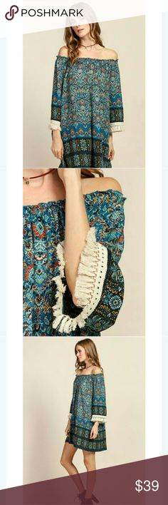 Off the shoulder dress Sleeveless border print off the shoulder dress  98% polyster 2% spandex Dresses Strapless