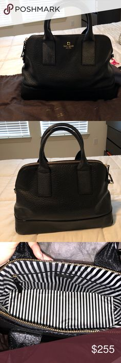 KATE SPADE black purse with removable strap This purse is in like new condition! I have had it stuffed in my closet inside of the dust bag to keep the shape as best I could! It includes the removable adjustable strap & dust bag. The care card is on the inside zippered pocket, has 2 other pockets inside as well. Perfect condition except for the changing color on the front strap (shown in last photo) but overall great condition! No trades, open to REASONABLE offers 😊 kate spade Bags Totes