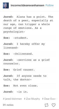 Jared and Zoe. Dear Eagan Hansen