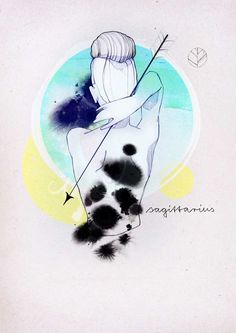Saggitarius - Ekaterina Koroleva even though I'm not a saggitarius, I love this drawing with the watercolor in the back - so beautiful