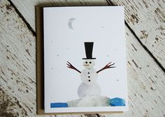 Snowman card of Original Collage by seeingstars on Etsy