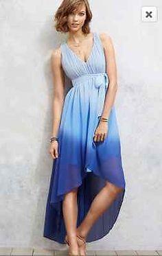 Victoria's Secret Blue Ombre Gradient Summer Beach Maxi Dress