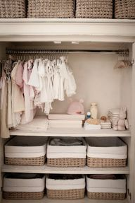 Every baby needs a beautiful nursery visit http://yourbabydepot.com/baby-nursery-ideas Baby Closet Organization, Small Nursery Organization, Baby Closet Storage, Organizing Baby Clothes, Nursery Storage Baskets, Nursery Shelving, Organization Ideas, Closet Shelves, Baby Bottle Storage