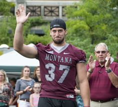 #37, Zack Wagenmann, waves to the crowd at the Great Griz Encounter! Wagenmann was just chosen as Defensive Player of the Week for the Big Sky Conference after his performance in the Griz vs. USD game on September 13th.