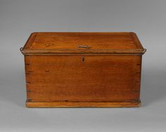 Late 18th. century Oak Churchwardens strong box with three locks so all 3 keyholders had to be present for this to be opened.