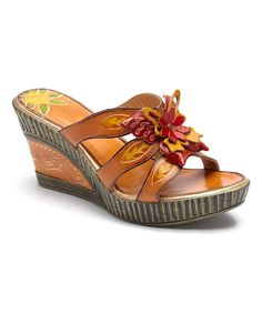 Bamboo54 Tan & Red Blossom Hand-Painted Leather Wedge Sandal   zulily