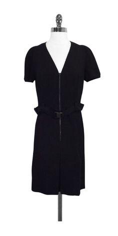 Akris Punto Black Wool Short Sleeve Pleated Dress