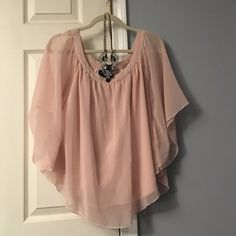 Pink chiffon short sleeve blouse Used twice, pale pink color, open flowy arms, light and comfy, open to reasonable offers, no trades necklace not included Rue 21 Tops Blouses