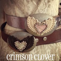 Upcycled Pink Heart Shabby Wings Buckle. $48.00, via Etsy.