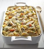 Slow Cooker Alpine Chicken Casserole Recipe -- A low calorie take on a delicious casserole your family will love! #LowCalorie #SlowCooker