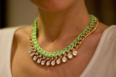 diy woven neon and gold chain necklace