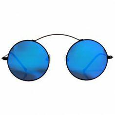 Lunettes de soleil noires rondes Spektre   Lunettes verres miroir bleu d551011adec5
