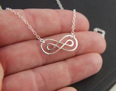 Double infinity necklace in sterling silver, sterling silver necklace, infinity symbol, eternity necklace, friendship necklace, knot