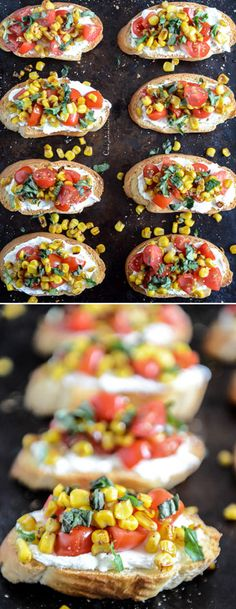Grilled Corn + Tomato Crostini with Whipped Roasted Garlic Goat Cheese Appetizers For Party, Appetizer Recipes, Snack Recipes, Cooking Recipes, Picnic Recipes, Cake Recipes, Sandwich Recipes, Sandwiches, Vegetarian Recipes