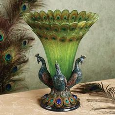 Peacock Tabletop Centerpiece Vase. Love it.