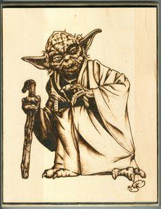 "Topps Yoda, 8"" x 10"" Wood Burning, August 2016"