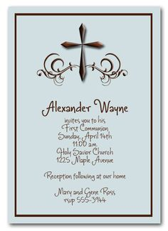 Brown Cross & Swirls on Shimmery Blue Invitations - perfect for Boy's first communion, baptism, christening. Announcingit.com exclusive design.