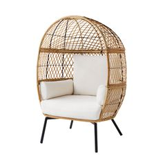 Better Homes and Gardens Ventura Boho Stationary Wicker Egg Chair Patio Chairs, Cool Chairs, Outdoor Chairs, Outdoor Spaces, Beach Chairs, Lounge Chairs, Outdoor Decor, Furniture Covers, Chairs