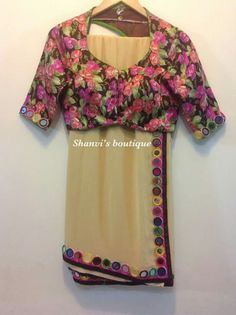Georgette mirror border saree with floral blouse