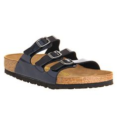 Slider sandals by Birkenstock The Florida Three Strap slider by Birkenstock is a design classic and features a contoured cork footbed, a triple PU strap and a buckle fastening.
