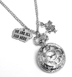 Alice in Wonderland We're All Mad Here Pocket Watch Necklace:Amazon.co.uk:Jewellery