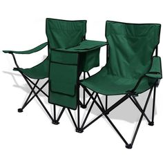 Camping Chair Set Folding Beach Picnic Garden Storage Table Cup Holder Bag Green