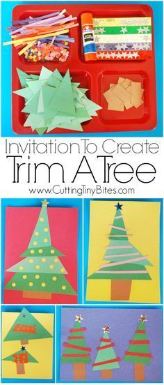 Invitation to Create! Trim A Tree. Open ended, creative, quick and easy kids paper Christmas craft. Great for color and shape recognition. Perfect for toddlers, preschoolers, and elementary.