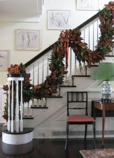A Whole Bunch Of Christmas Staircase Decorating Ideas - Christmas Decorating - this magnolia garland is breathtaking! * More info could be found at the image url. All Things Christmas, Christmas Home, Christmas Holidays, Christmas Wreaths, Christmas Crafts, Lush Christmas, Southern Christmas, Rustic Christmas, Christmas Christmas